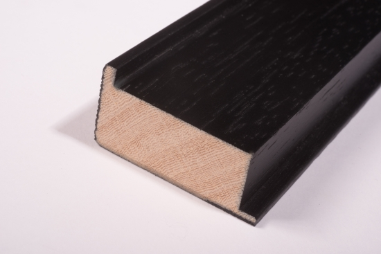 Picture Frame Wood, wood, black, 20 x 40mm, 260cm long